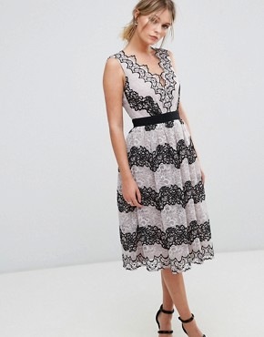 photo Midi Dress in Contrast Lace by Little Mistress, color Monochrome - Image 1