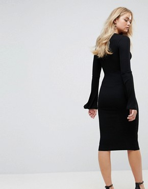 photo Midi Bodycon Dress with Fluted Sleeves by ASOS TALL, color Black - Image 2