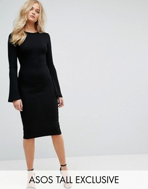 photo Midi Bodycon Dress with Fluted Sleeves by ASOS TALL, color Black - Image 1