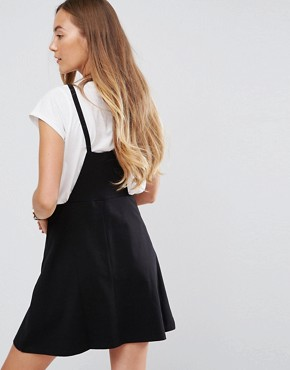 photo Mini Pinafore Dress with Strappy Back by ASOS TALL, color Black - Image 2