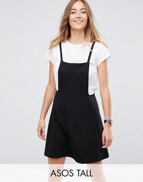 photo Mini Pinafore Dress with Strappy Back by ASOS TALL, color Black - Image 1