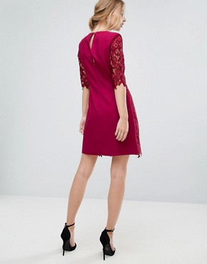 photo Shift Dress in All Over Lace by Little Mistress, color Berry Red - Image 2