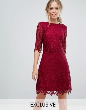 photo Shift Dress in All Over Lace by Little Mistress, color Berry Red - Image 1