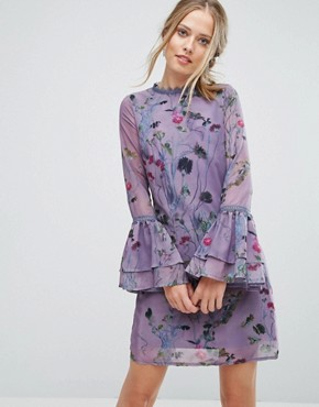 photo Shift Dress in Floral Print with Lace Trim by Little Mistress, color Multi - Image 1