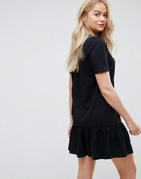 photo Mini Drop Hem T-Shirt Dress by ASOS TALL, color Black - Image 2