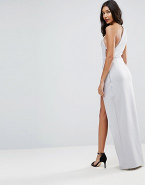 photo One Shoulder Maxi Dress with Exposed Zip by ASOS TALL, color Grey - Image 2