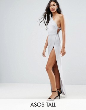 photo One Shoulder Maxi Dress with Exposed Zip by ASOS TALL, color Grey - Image 1