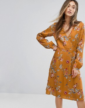 photo Flower Print Wrap Dress by Gestuz, color Inca Gold - Image 1