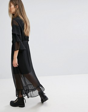 photo Long Dress with Lace Detail by Gestuz, color Black - Image 2