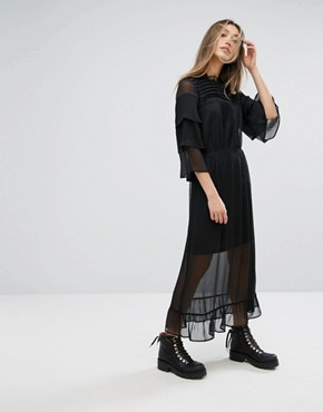 photo Long Dress with Lace Detail by Gestuz, color Black - Image 1
