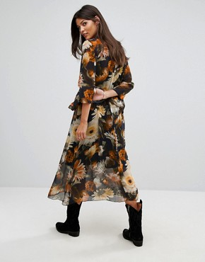 photo Long Flower Print Dress by Gestuz, color Multi Black Flower - Image 2