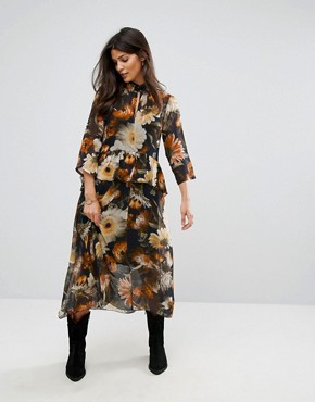 photo Long Flower Print Dress by Gestuz, color Multi Black Flower - Image 1