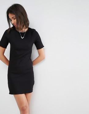 photo Baby Over Lock Rib T-Shirt Dress by ASOS, color Black - Image 1