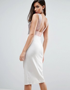photo Deep Plunge Ombre Sparkle Bodycon Midi Dress by ASOS, color White/Rose Gold - Image 2