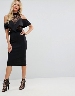 photo Ruffle Front Sheer Lace Bodycon Midi Dress by ASOS, color Black - Image 1