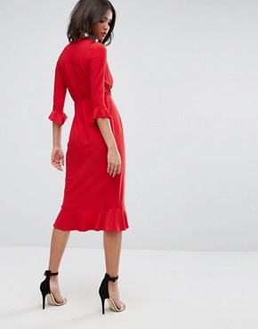 photo Wrap Front Midi Dress with Frill Detail by ASOS, color Red - Image 2