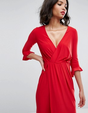 photo Wrap Front Midi Dress with Frill Detail by ASOS, color Red - Image 3