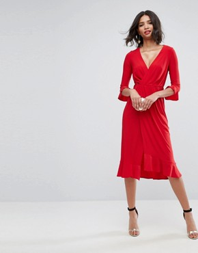 photo Wrap Front Midi Dress with Frill Detail by ASOS, color Red - Image 4