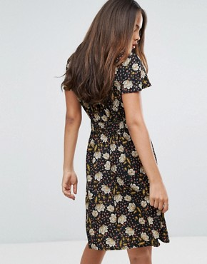 photo Printed Tea Dress by Y.A.S Tall, color Black - Image 2