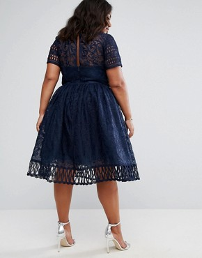 photo Lace Dress with Cutwork Detail and Cap Sleeve by Chi Chi London Plus Premium, color Navy - Image 2