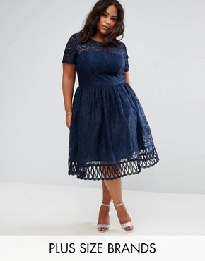 photo Lace Dress with Cutwork Detail and Cap Sleeve by Chi Chi London Plus Premium, color Navy - Image 1