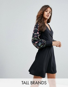 photo Long Sleeve Wrap Dress by Vero Moda Tall, color Black - Image 1