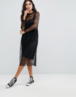 photo Tesla Lace Midi Dress by Only, color Black - Image 1