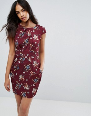 photo Floral Tulip Pencil Dress by QED London, color Wine - Image 1