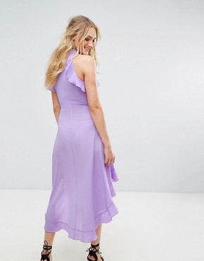 photo Wrap Ruffle Detail High Neck Midi Dress by John Zack Tall, color Lavender - Image 2