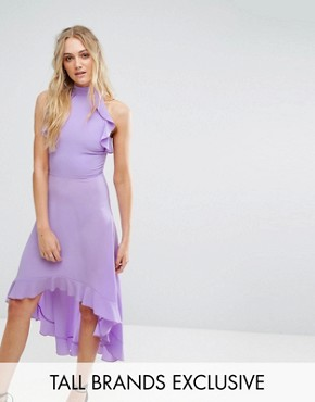 photo Wrap Ruffle Detail High Neck Midi Dress by John Zack Tall, color Lavender - Image 1