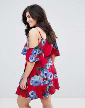 photo Wrap Front Cold Shoulder Tea Dress in Large Floral Print by John Zack Plus, color Multi Red Floral - Image 2