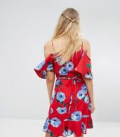 photo Wrap Front Cold Shoulder Tea Dress in Large Floral Print by John Zack Tall, color Multi Red Floral - Image 2