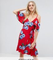 photo Wrap Front Cold Shoulder Tea Dress in Large Floral Print by John Zack Tall, color Multi Red Floral - Image 1