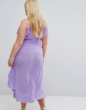 photo Wrap Ruffle Detail High Neck Midi Dress by John Zack Plus, color Lavender - Image 2