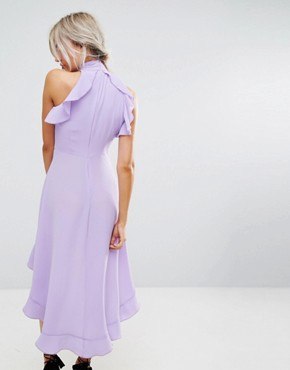 photo Wrap Ruffle Detail High Neck Midi Dress by John Zack Petite, color Lavender - Image 2
