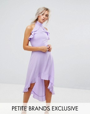 photo Wrap Ruffle Detail High Neck Midi Dress by John Zack Petite, color Lavender - Image 1