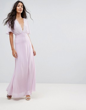photo Open Back Maxi Dress with Fluted Lace Sleeve by John Zack Tall, color Lavender - Image 2