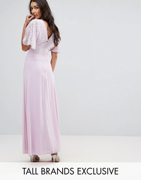 photo Open Back Maxi Dress with Fluted Lace Sleeve by John Zack Tall, color Lavender - Image 1