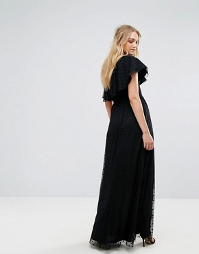 photo One Shoulder Maxi Dress in Dotty Mesh by John Zack Tall, color Black - Image 2