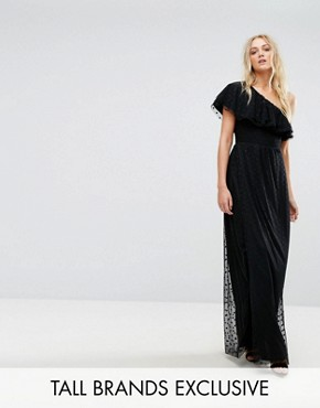 photo One Shoulder Maxi Dress in Dotty Mesh by John Zack Tall, color Black - Image 1