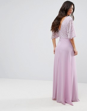 photo Open Back Maxi Dress with Fluted Lace Sleeve by John Zack Petite, color Lavender - Image 2