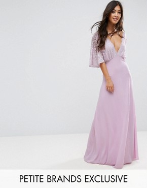 photo Open Back Maxi Dress with Fluted Lace Sleeve by John Zack Petite, color Lavender - Image 1
