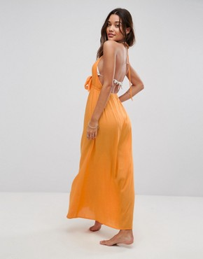 photo Woven Tie Front Maxi Beach Dress by ASOS, color Orange - Image 2