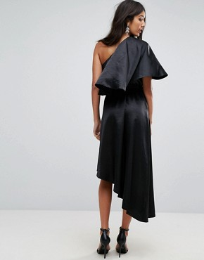 photo Ruffle One Shoulder Midi Dress by John Zack Tall, color Black - Image 2