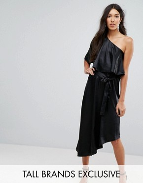 photo Ruffle One Shoulder Midi Dress by John Zack Tall, color Black - Image 1