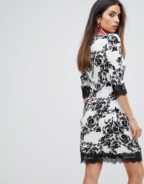 photo Floral Shift Dress with Lace Trim by Zibi London, color Black/White - Image 2