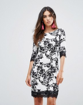 photo Floral Shift Dress with Lace Trim by Zibi London, color Black/White - Image 1