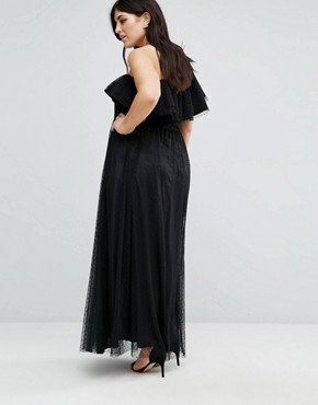 photo One Shoulder Maxi Dress in Dotty Mesh by John Zack Plus, color Black - Image 2