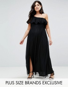 photo One Shoulder Maxi Dress in Dotty Mesh by John Zack Plus, color Black - Image 1