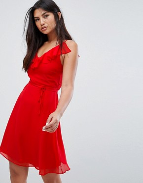 photo Belted Skater Dress with Frill Overlay by Zibi London, color Red - Image 1